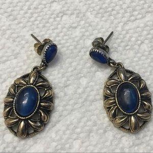 Avon Blue Cat Eye Drop Earrings Brass Pierced